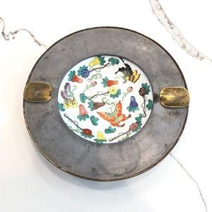 Japanese Porcelain and Pewter Decorative Bowl